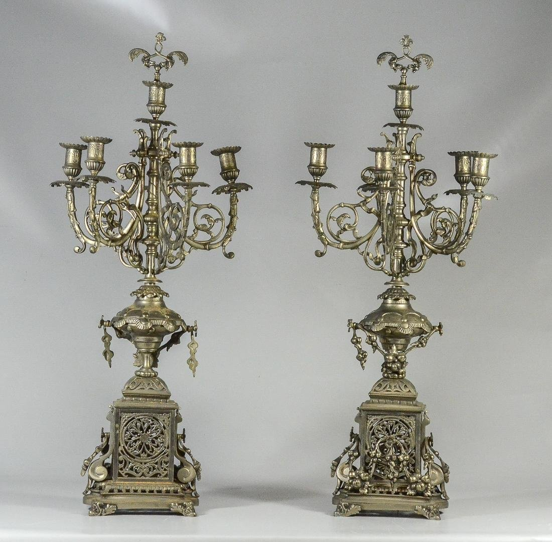 Pair of Victorian Nickle Patinated Six Arm Candelabra