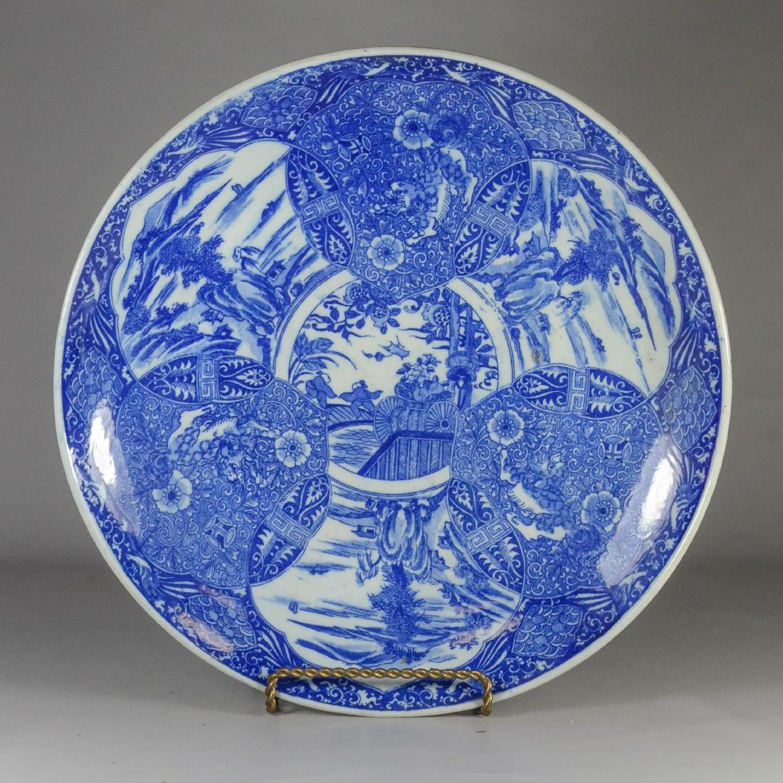 Japanese blue transfer decorated white glazed charger