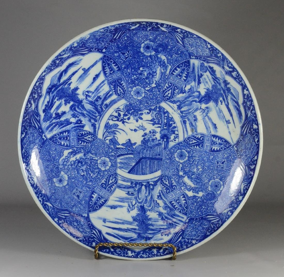 Japanese blue transfer decorated white glazed charger - 2