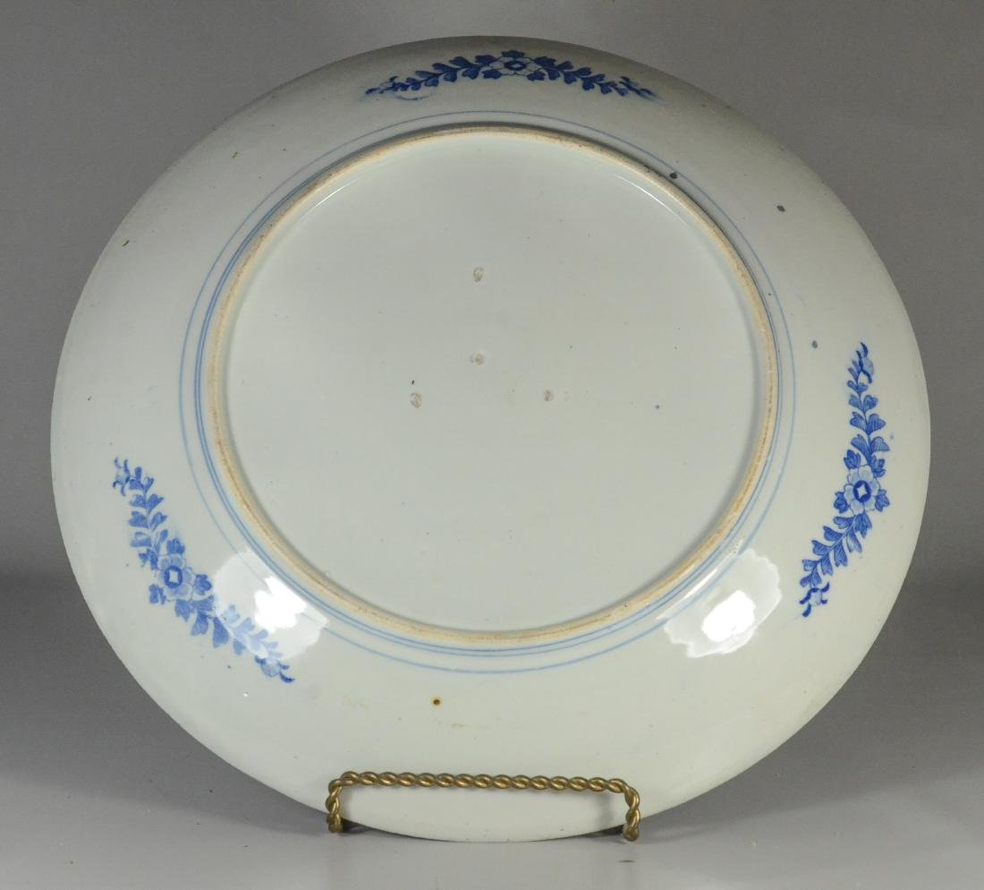 Japanese blue transfer decorated white glazed charger - 3