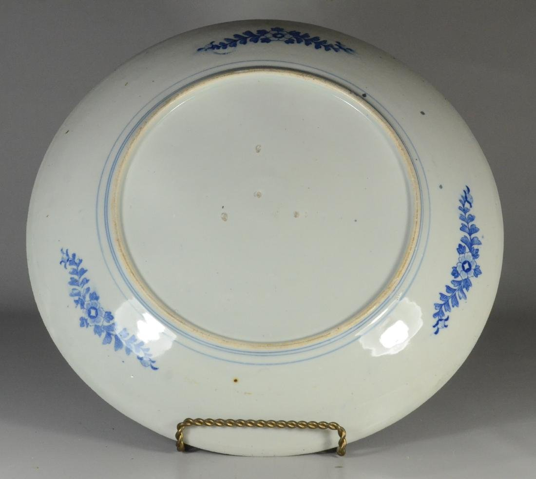Japanese blue transfer decorated white glazed charger - 4