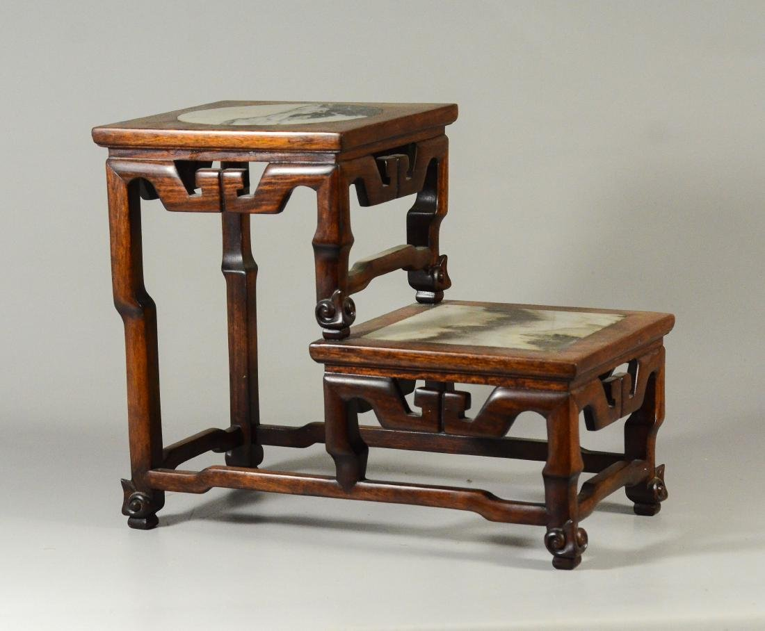 Chinese 2 step wood curio stand, marble inserts