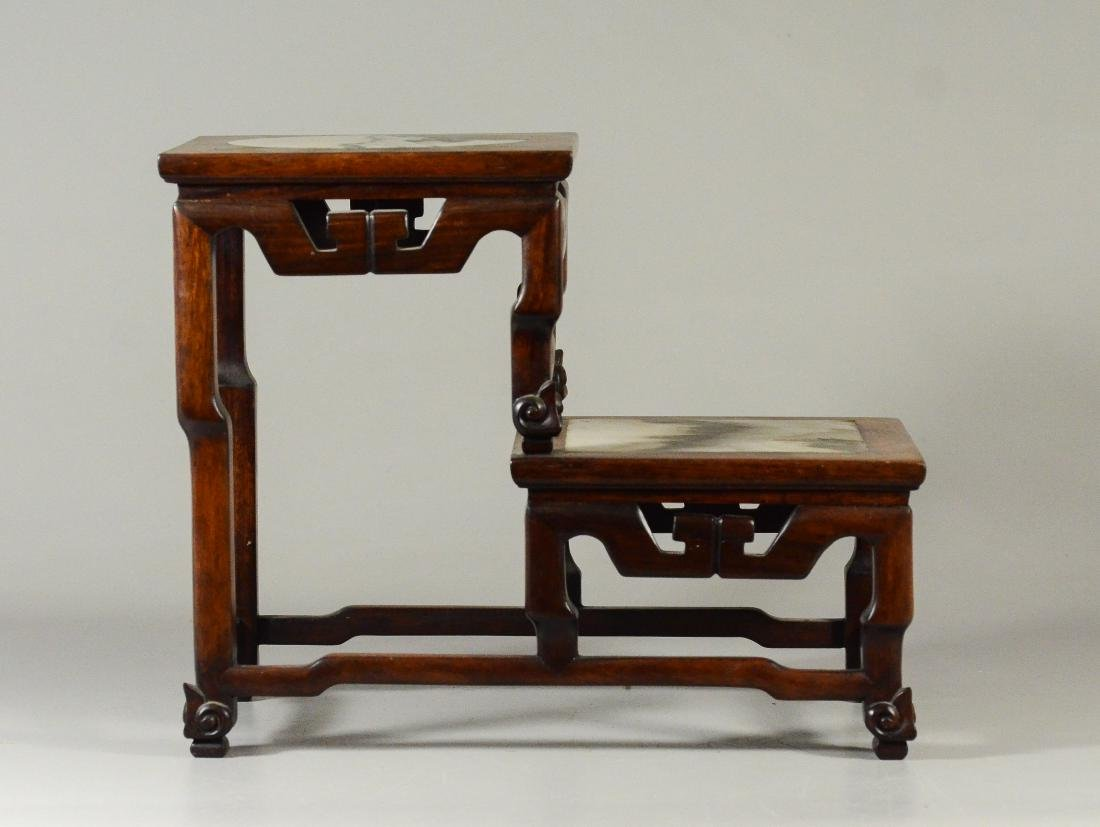 Chinese 2 step wood curio stand, marble inserts - 2