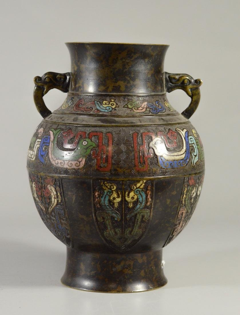 "Chinese cloisonne vase, figural handles, 9 1/2"" h"