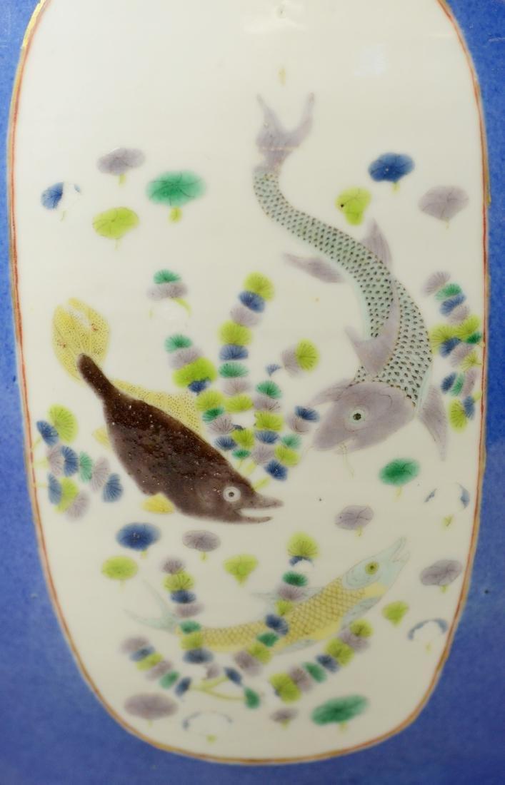 Chinese porcelain jardiniere, cobalt ground - 11