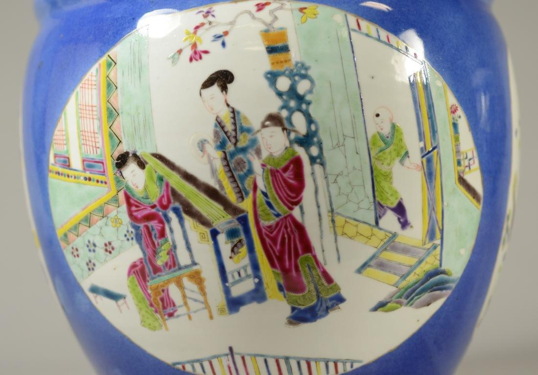 Chinese porcelain jardiniere, cobalt ground - 12