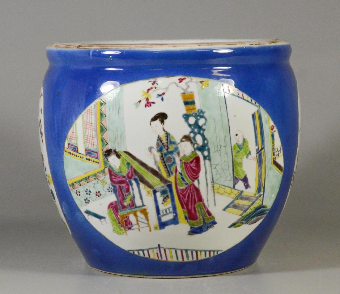 Chinese porcelain jardiniere, cobalt ground