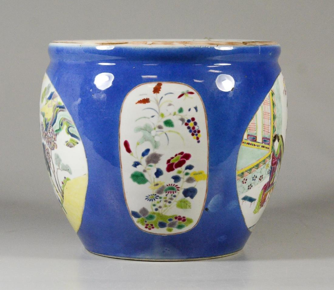 Chinese porcelain jardiniere, cobalt ground - 2