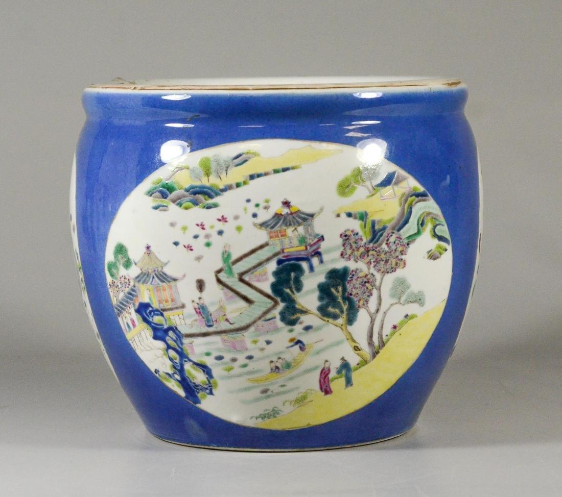 Chinese porcelain jardiniere, cobalt ground - 3