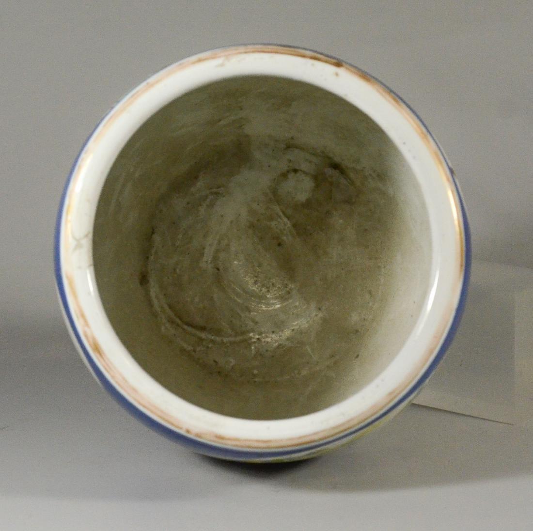 Chinese porcelain jardiniere, cobalt ground - 4