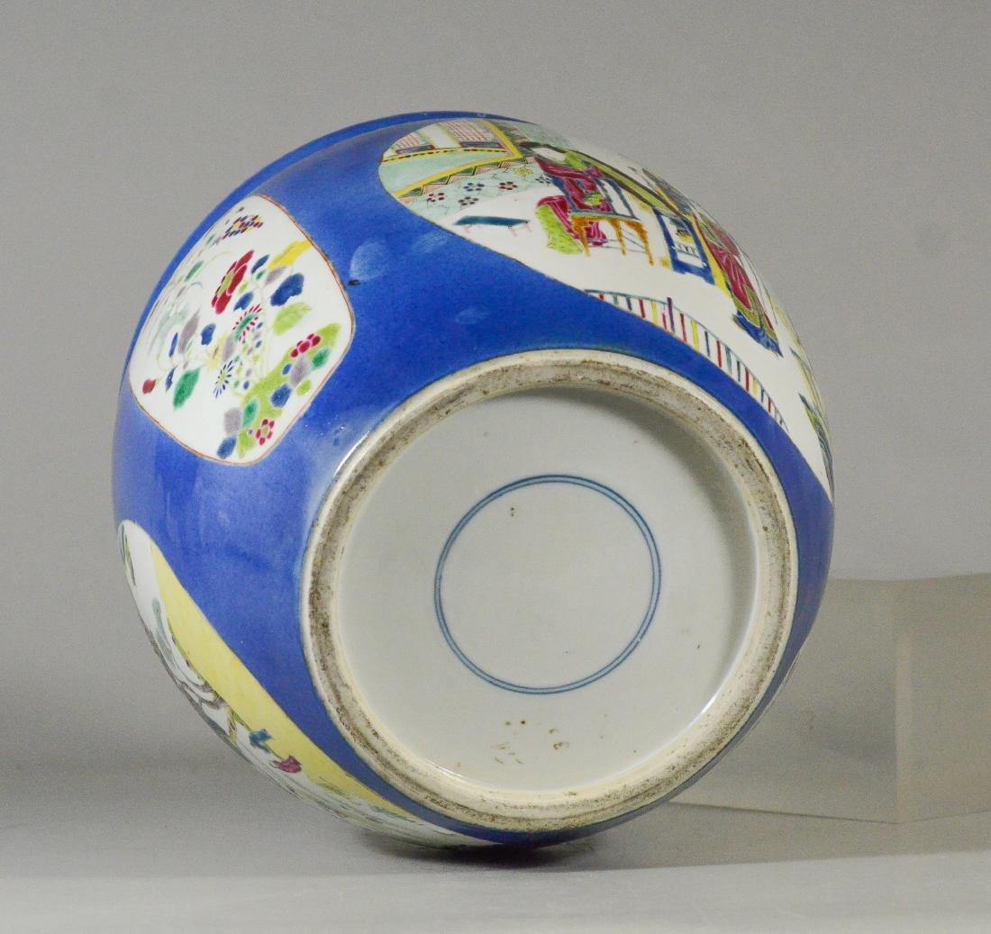 Chinese porcelain jardiniere, cobalt ground - 5