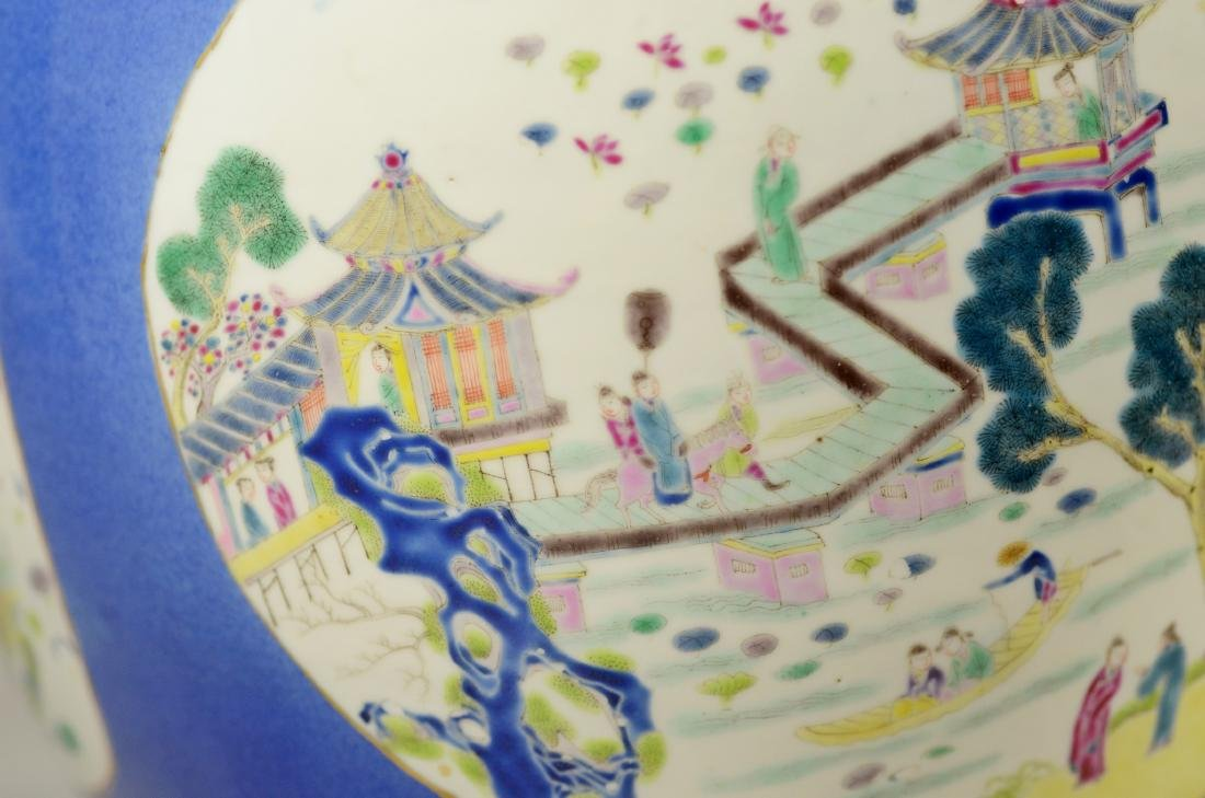 Chinese porcelain jardiniere, cobalt ground - 8