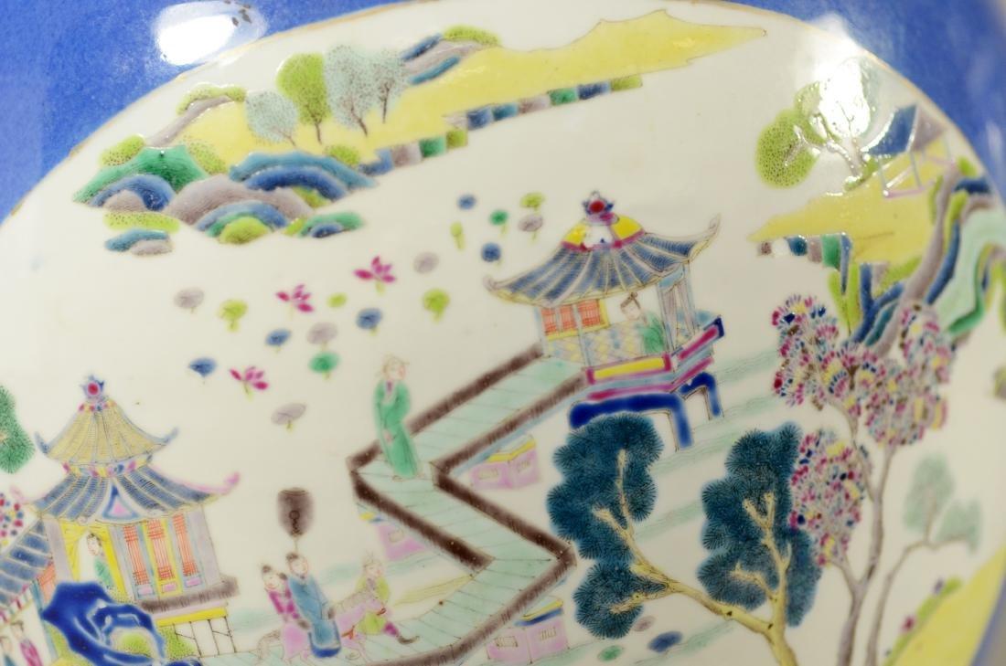Chinese porcelain jardiniere, cobalt ground - 9