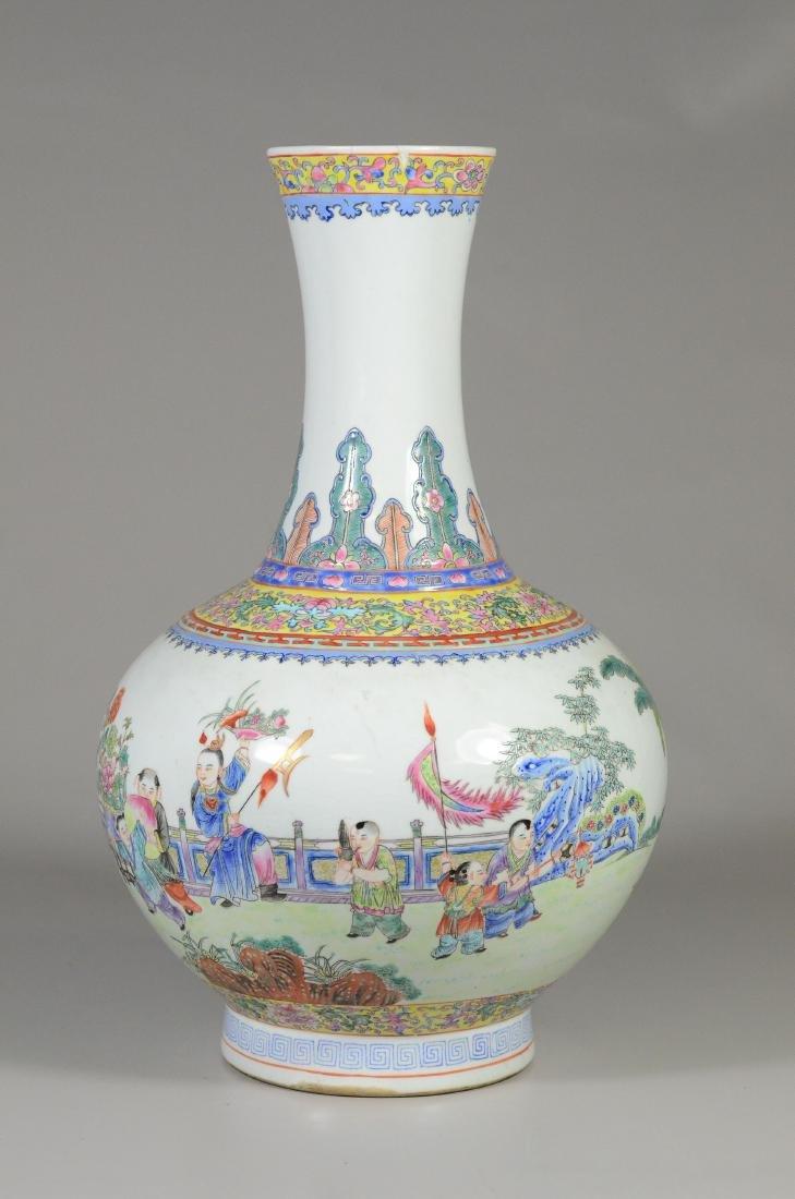 Enameled Chinese Porcelain Vase; Famille Rose