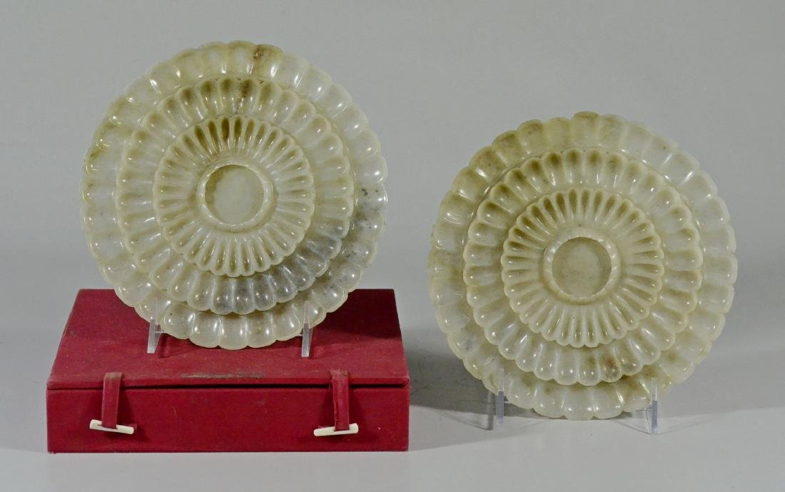 Pair of Carved Lotus Flower-Form Jade Plates