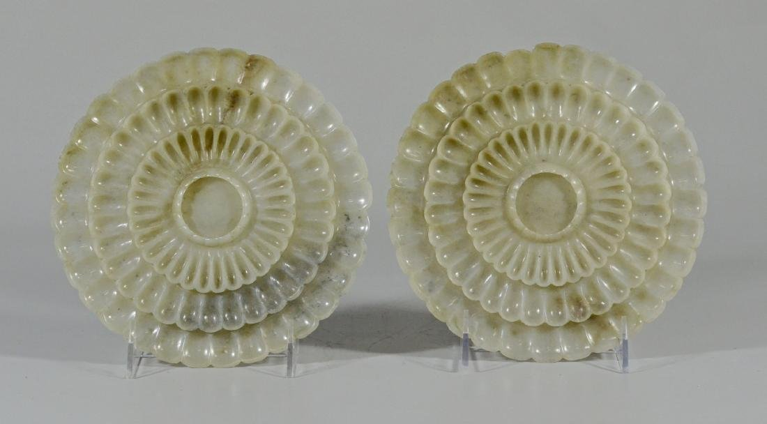 Pair of Carved Lotus Flower-Form Jade Plates - 2