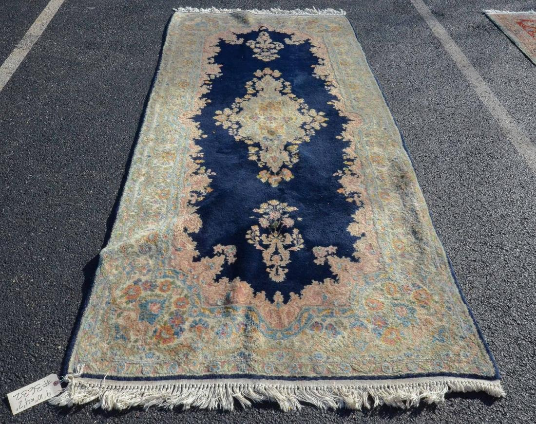 "4'2"" X 9'10"" Blue Kirman Rug"