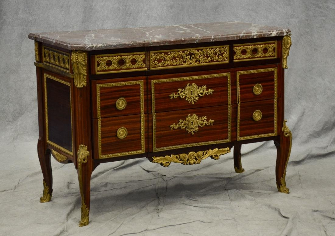 Louis XV bronze mounted kingwood commode, 19th C