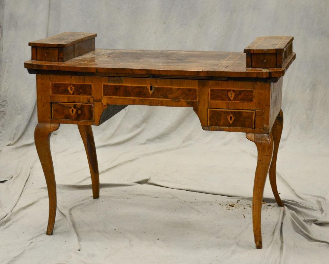 Continental banded & burled walnut writing desk, pro