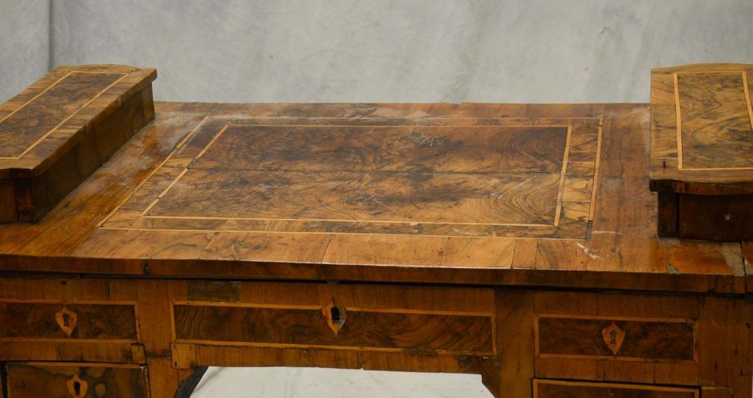 Continental banded & burled walnut writing desk, pro - 2