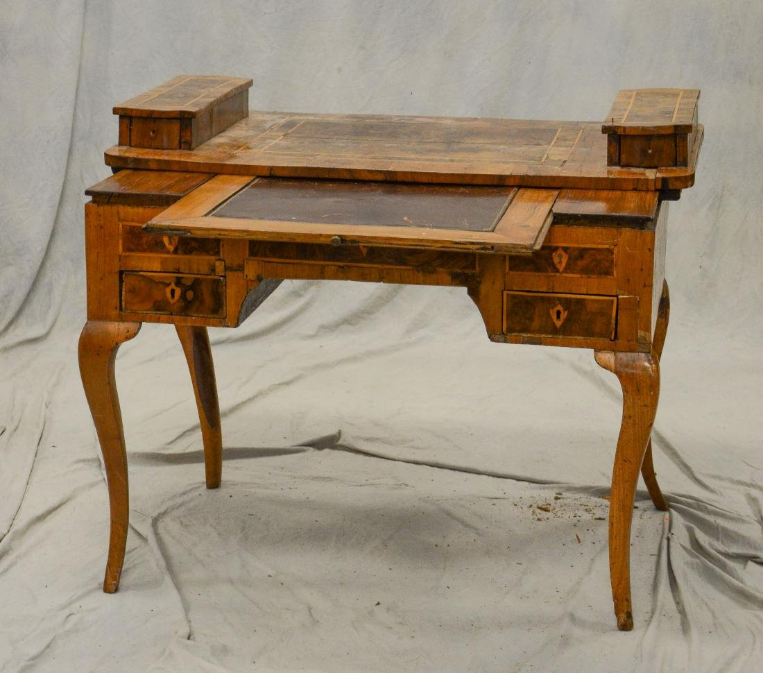 Continental banded & burled walnut writing desk, pro - 3