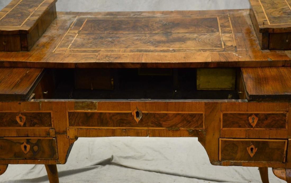 Continental banded & burled walnut writing desk, pro - 4
