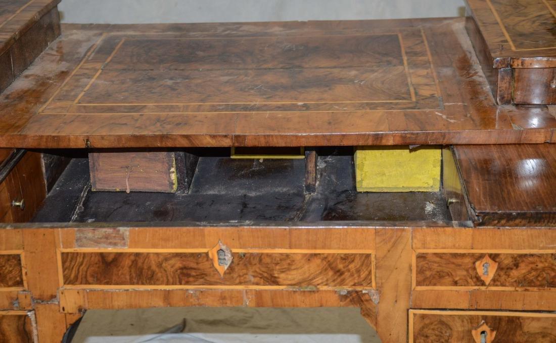 Continental banded & burled walnut writing desk, pro - 5