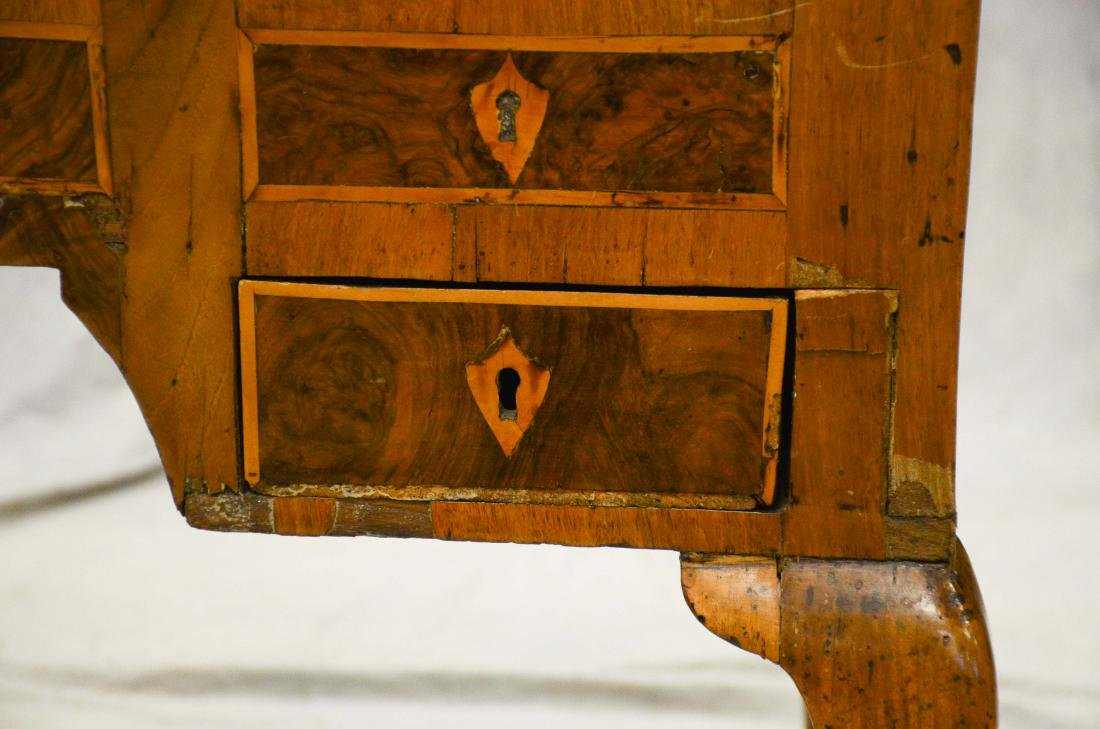 Continental banded & burled walnut writing desk, pro - 7
