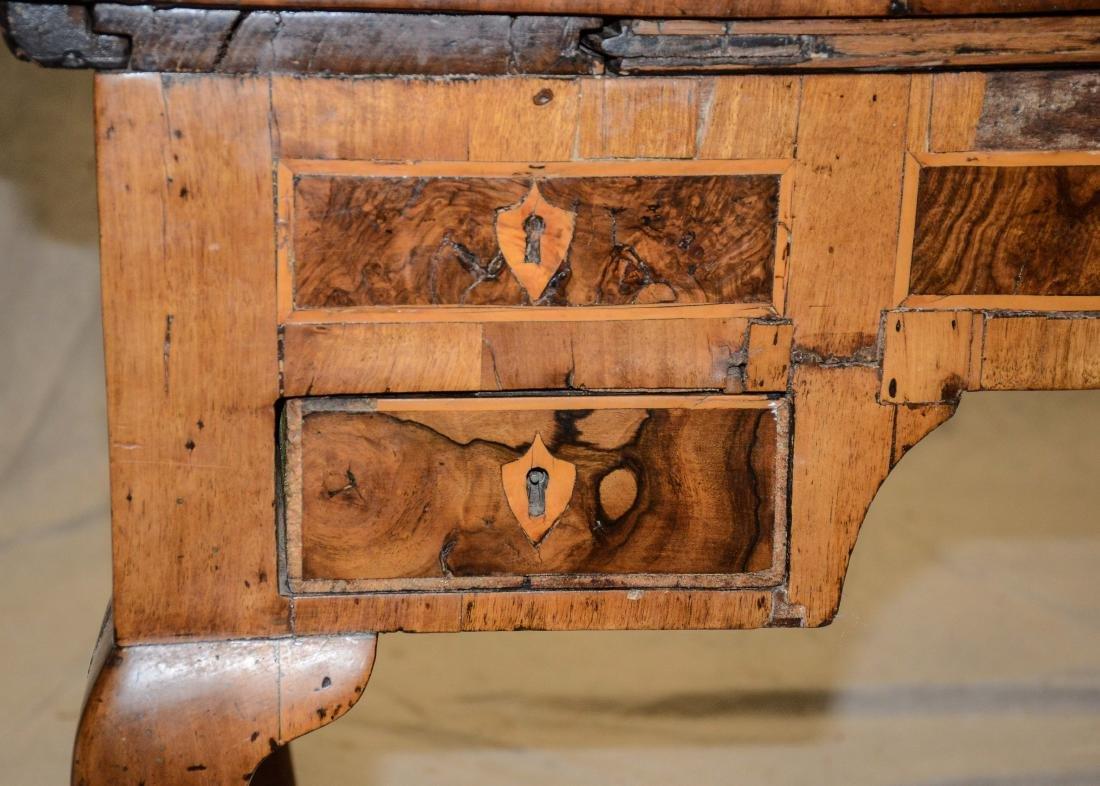Continental banded & burled walnut writing desk, pro - 9