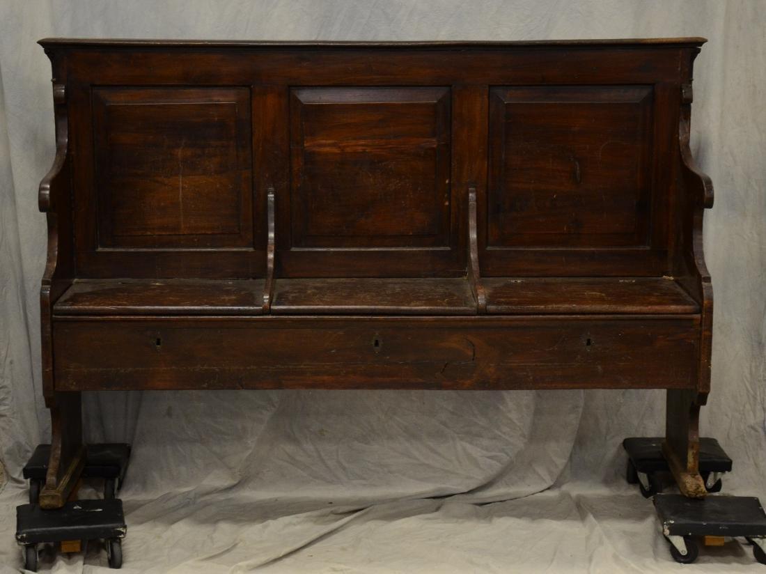 Walnut triple back raised panel settle bench, each l
