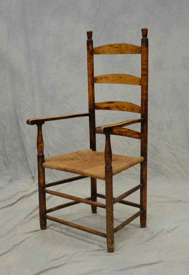 4 slat ladderback armchair with rush seat, pleasing