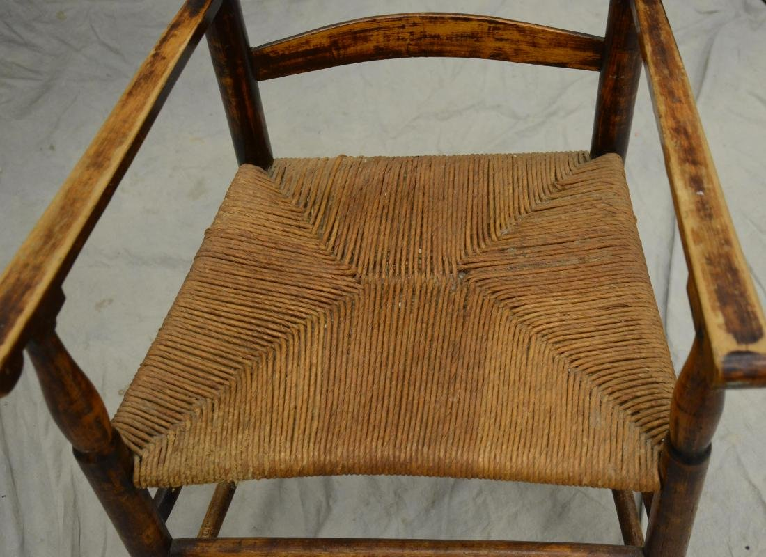 4 slat ladderback armchair with rush seat, pleasing - 2