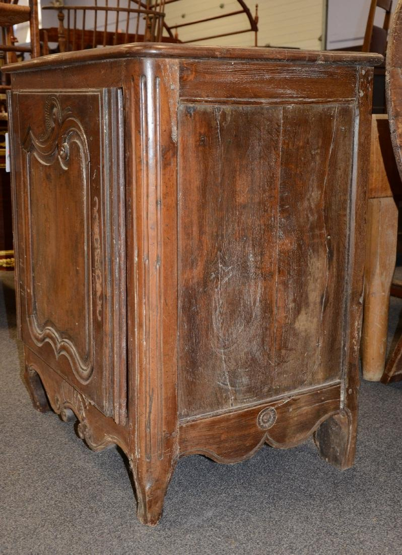 Walnut French Provincial single door side cabinet, 1 - 2