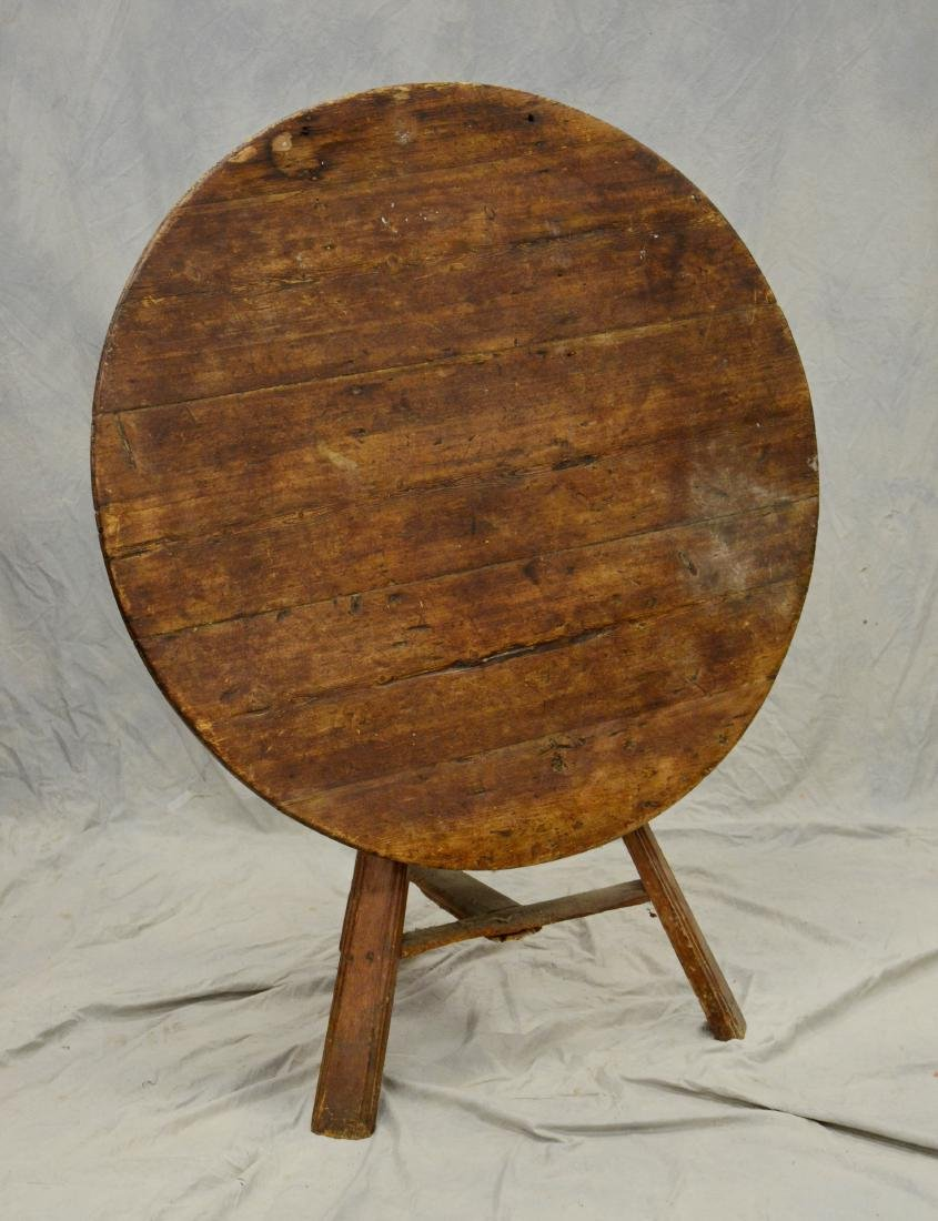 French pine  tilt top wine tasting table, 4 board to