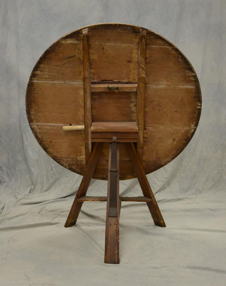 French pine  tilt top wine tasting table, 4 board to - 3