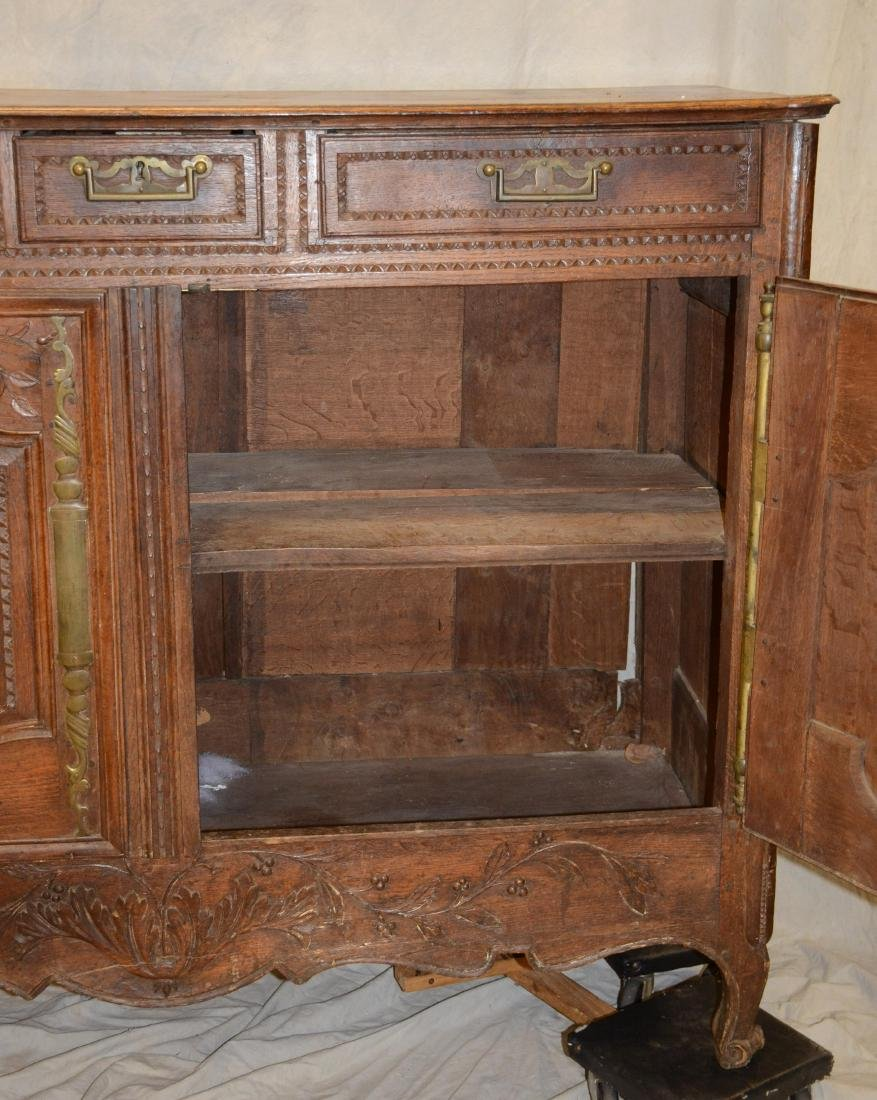 French Provincial carved oak buffet, 18th c, floral - 4