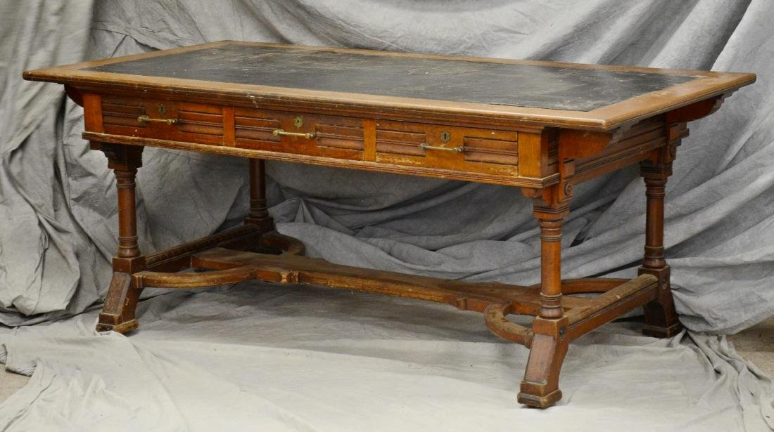 Walnut Victorian Aesthetic leather top writing desk,