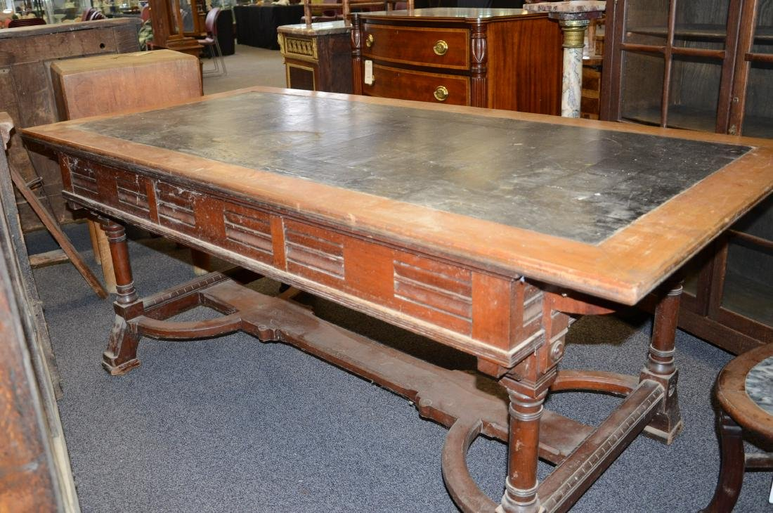 Walnut Victorian Aesthetic leather top writing desk, - 8