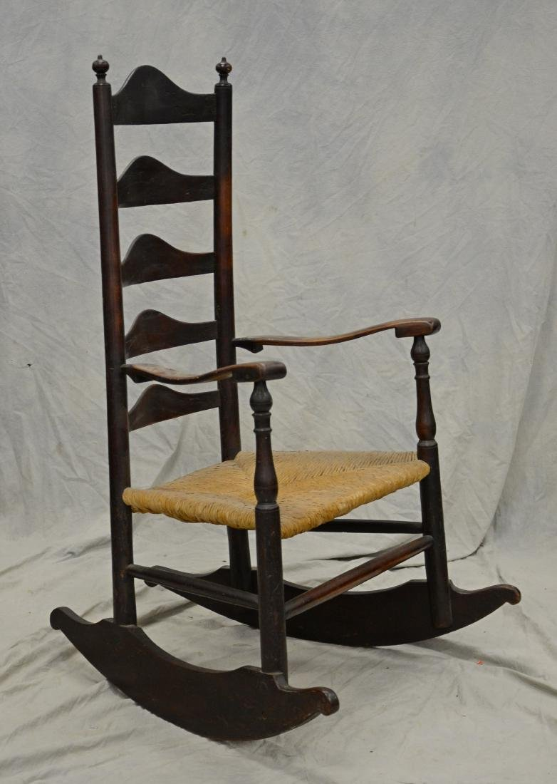 5 slat ladderback rocking chair, rush seat
