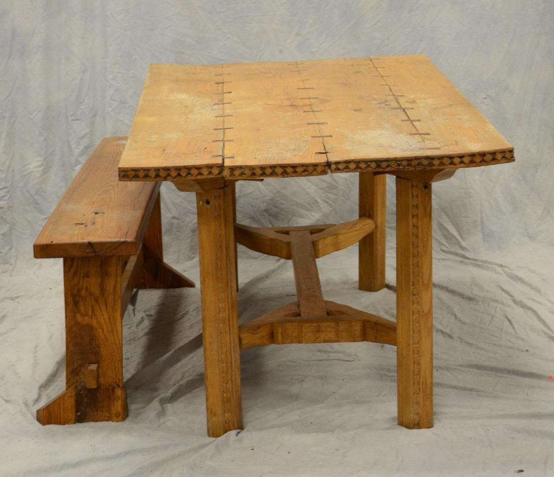 Bench made Arts & Crafts DR table w/ bench, carved d