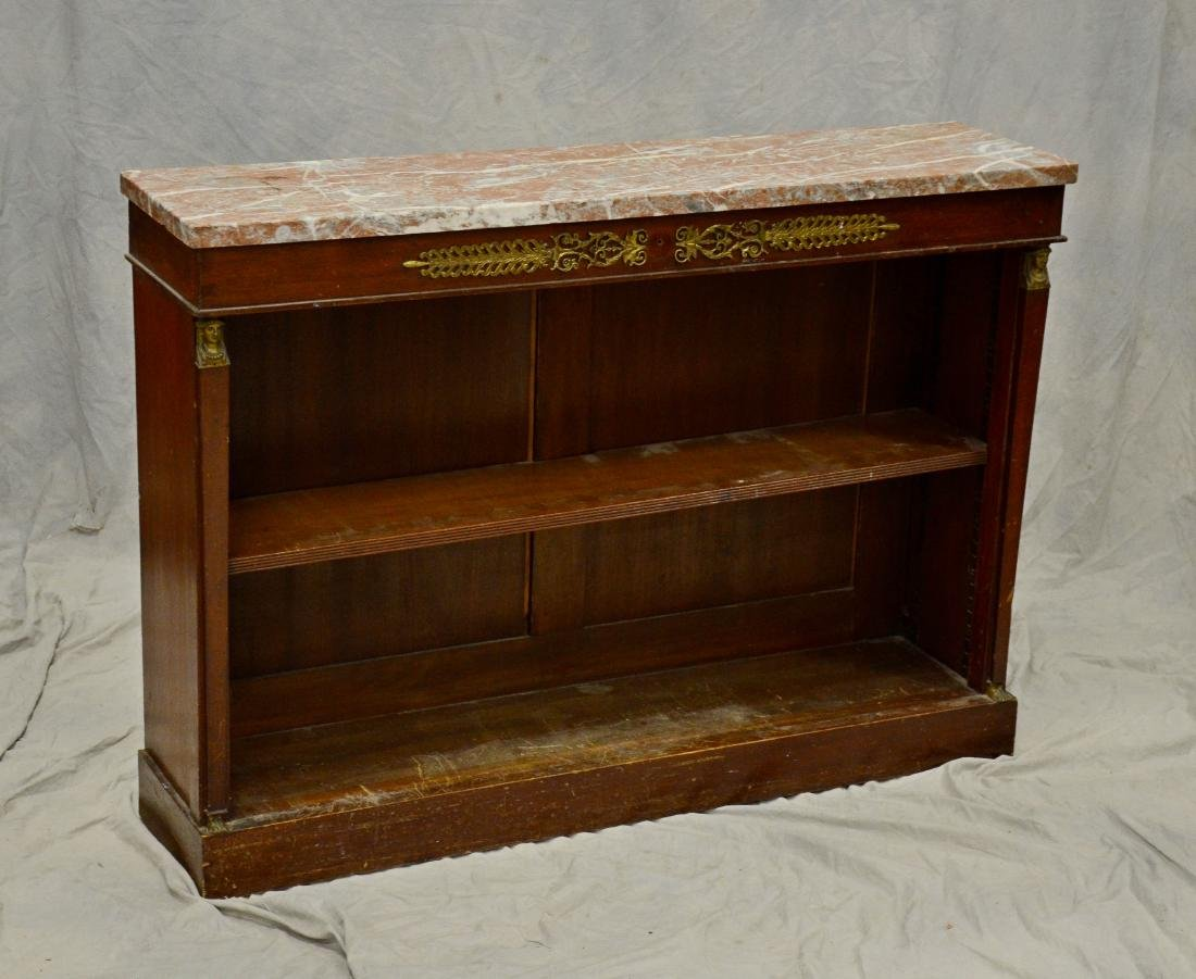 French Empire style marbletop open front bookcase, b - 2