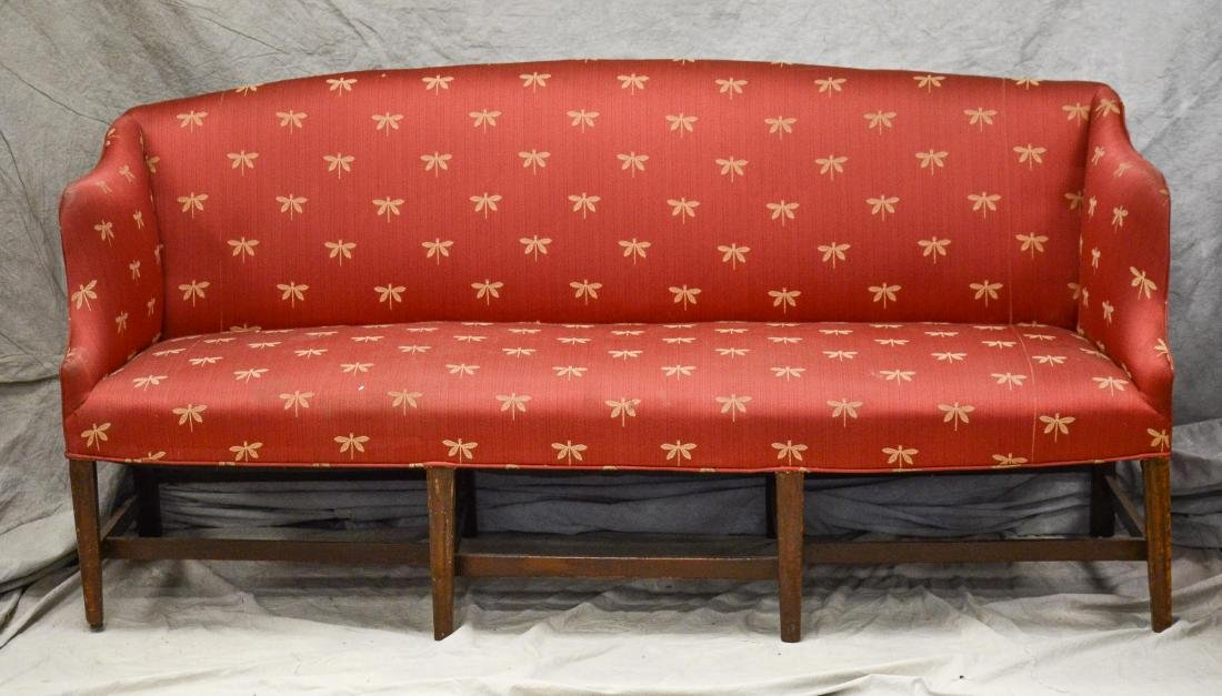 Hepplewhite high arm sofa, late 18th c, top gently s