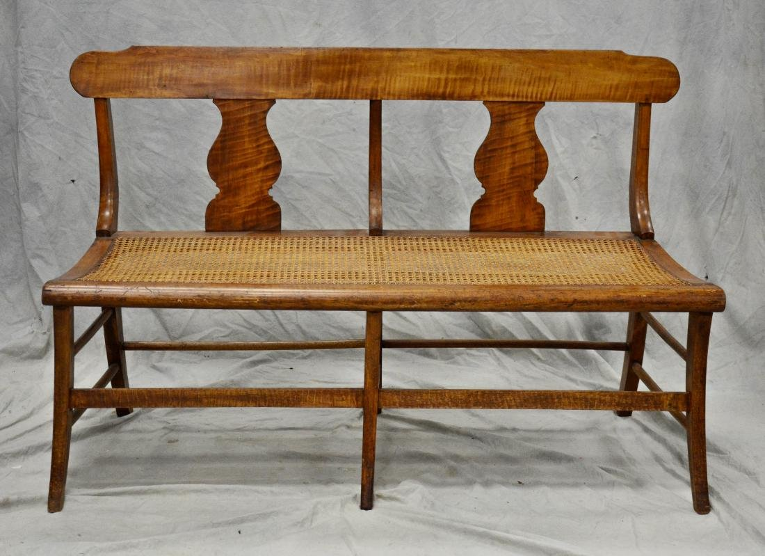 American Federal figured maple caned seat bench, 32