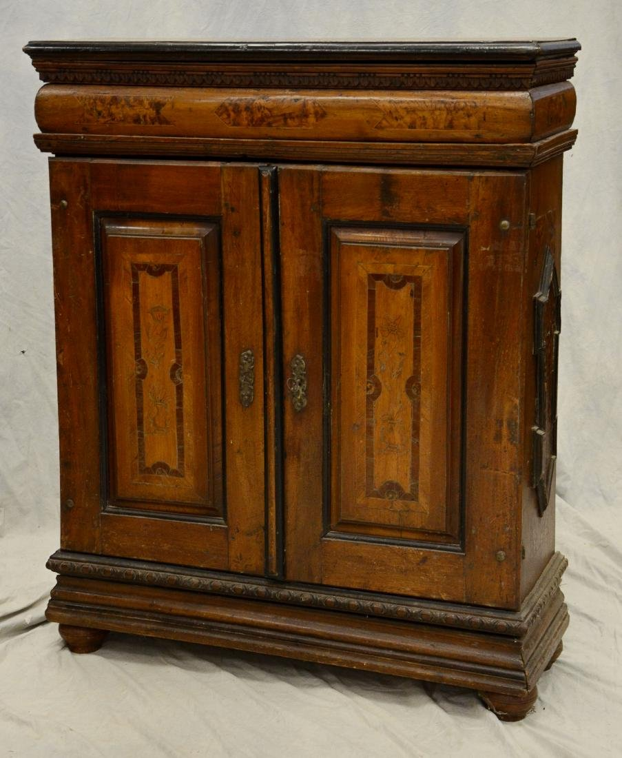 Continental inlaid valuables cabinet, bun feet, flor