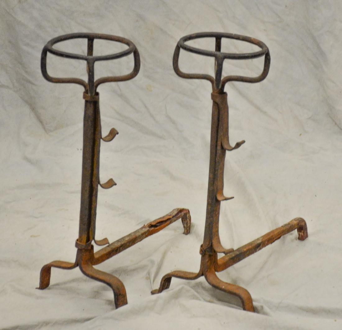 Pr wrought iron peat basket andirons, English or Con