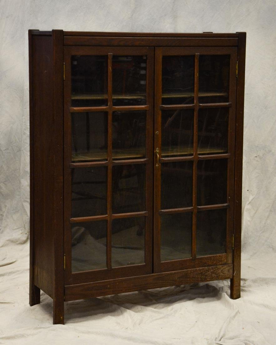 Oak Arts & Crafts 2 door bookcase, glass doors, 3 sh