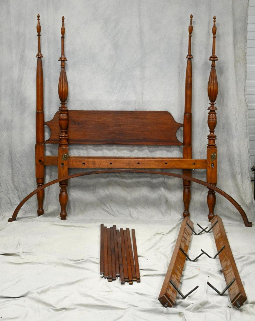 Sheraton 4 post canopy bed, plain turned head posts,