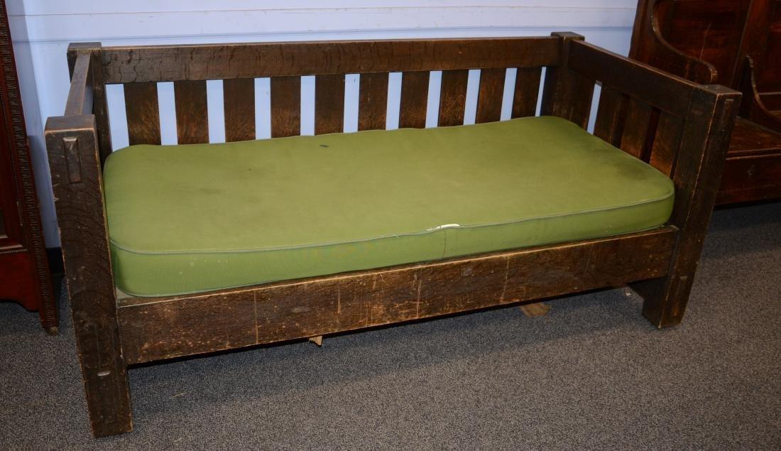 Oak Arts and Crafts even arm sofa, green cushion, un - 3