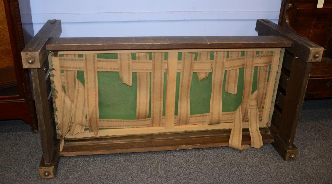 Oak Arts and Crafts even arm sofa, green cushion, un - 4