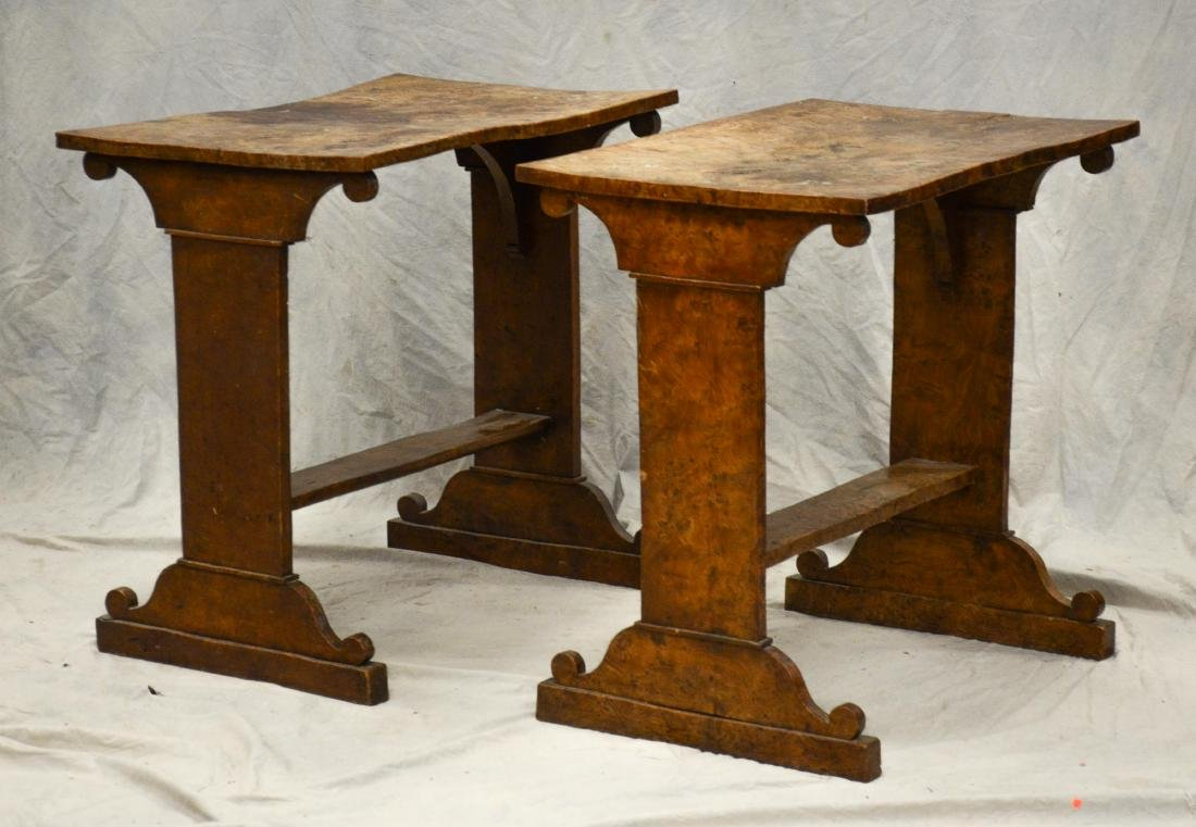 Pr Biedermeier style burl walnut side tables, 19th c,